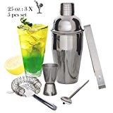 Cocktail Shaker Set - Bartenders Kit 5 Pieces Stainless Steel Bar Tool Set, 25 OZ Cocktail Shakers, Measure Jigger, Cocktail Strainer, Ice Tongs & Spoon to Mix Any Drink To Perfection