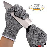 Cut Resistant Gloves High Performance Level 5 Protection Food Grade Certified Kitchen and Work Safety Lightweight Breathable Size Small
