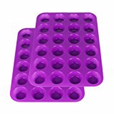 2Packs Suntake Silicone Mini Muffin & Cupcake Baking Pan, 24 Cups Silicone Molds (Purple)