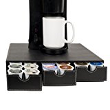 G.U.S. 3-Drawer Coffee Pod Or K-Cup Holder, Compatible With All Capsules Including Nespresso, Keurig, Gourmesso, Verismo, Nescafe Dolce Gusto, CBTL; Decorative Black Leatherette