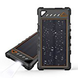 Solar Charger, Beartwo 10000mAh Portable Solar Phone Charger with Flashlight, IP67 Waterproof /Shockproof Dual USB Solar Power Bank for Cellphones and other USB Devices