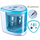 CARPRO Automatic Double Holes Pencil Sharpener Battery Operated Pencil Sharpener Colored Small and Durable fits Home Office School Classroom-Blue