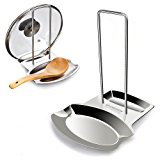 Yummy Sam Lid and Spoon Rest, Utensils Lid Holder Spoon Holder Lid Rest Lid Shelf Kitchen Utensils Holders Stainless Steel in Silver