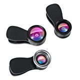 AMIR Phone Camera Lens, 180° Fisheye Lens + 25X Macro Lens + 0.36X Wide Angle Lens, Clip-On 3 IN 1 Professional HD Cell Phone Lens for iPhone 7 / 7 PLUS / 6, Samsung, Other Smartphones