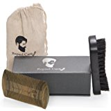 Beard Brush and Beard Comb kit for Men Grooming, Styling & Shaping - Handmade Wooden Comb and Natural Boar Bristle Beard Brush set for Men Beard & Mustache by Repsol Care
