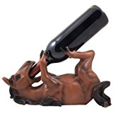 Drinking Chestnut Stallion Wine and Oil Bottle Holder Statue in Decorative Tabletop Wine Racks & Display Stands for Country Farm Kitchen Table Centerpieces or Western Brown Horse Ranch Decor As Whimsical Gifts for Farmers by Generic