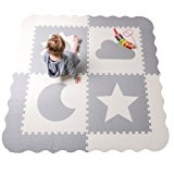 "Interlocking Foam Baby Play Mat Tiles - Non-Toxic, Extra Large Thick Floor Squares, 61"" x 61"" Unisex Grey & White Playroom & Nursery Mat, Safe & Protective For Infants, Toddlers, Kids"