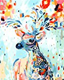 LOSTART Diy Oil Painting,Paint by Number Kit for Adult 16 by 20-Inch (Rainbow deer)