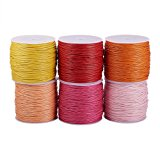 PandaHall Elite Mixed 6 Colors 1mm Waxed Cotton Cord Beading String for Beading and Macrame Supplies Durable DIY Thread 80 Yards Warm Theme