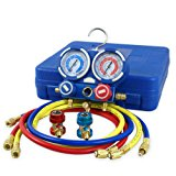 "ZENY Diagnostic A/C Manifold Gauge Set R22 R134a R410a Refrigeration Kit Brass Auto Serivice Kit 4FT w/Case, 1/4"" SAE Fittings"