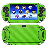 Decalrus - PlayStation PSP Vita GREEN Carbon Fiber skin skins decal for case cover wrap CFvitaGreen