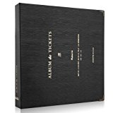 Woodmin 100 Pockets Leather Ticket Stub Album for Sports,Movie,Concert, Banknote Bill Collect Book (Black)