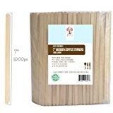 "Wood Coffee Beverage Stirrers, Coffee Stir Sticks 7"" (1000 Count) EcoFriendly Completely Biodegradable, Coffee Stirrers For Hot & Cold Beverages as Coffee & Tea Alternative to Plastic Stirrer"