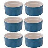 Mrs. Anderson's Baking Souffle Ramekin, Ceramic Earthenware, Blueberry, Set of 6, 3.25-Inch, 4-Ounce Capacity