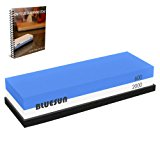 Knife Sharpening Sharpener Stone Whetstone Waterstone 600 2000 Grit, Silicon Non-slip Base and Ebook Included for Kitchen knives, Tactical knives, Scissors, Razors, Swords, and More