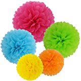 SOOKOO 15 Pcs Paper Pom Poms in 14 Inch, 12 Inch, 10 Inch Assorted Rainbow Colors Paper Flowers Balls for Birthday Wedding Party Baby Shower Celebration and Outdoor Decorations