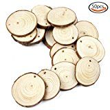 "Goodlucky 20pcs 1.6""-2"" Unfinished Predrilled Natural Wood Slices"