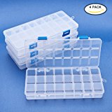 BENECREAT 4 Pack 24 Grids Jewelry Dividers Box Organizer Adjustable Clear Plastic Bead Case Storage Container 21.7x10x3cm, Compartment: 3x2.5cm