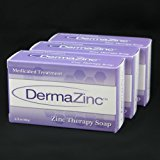 DermaZinc Zinc Therapy Soap 4.25 Ounce (120 gram) Bar - 3 Pack