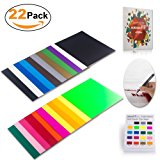 """Heat Transfer Vinyl HTV Bundle Variety Pack Assortment for T shirts Fabric 12x10"""" 22 Sheets Iron On Vinyl Colored Starter Kit for Silhouette Cameo and Cricut BONUS 1 Weeding Tweezers and Reminder List"""