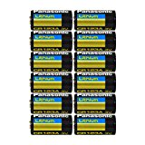 "Panasonic CR123A-12PK Lithium 3V Photo Lithium Battery, 0.67"" Diameter x 1.36"" H (17.0 mm x 34.5 mm), black/Gold/Blue (Pack of 12)"