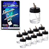 Master Airbrush® Brand Box of 10-each TB-002 3/4-Ounce, (22cc) Glass Bottle Air Brush Depot Airbrushing Accessories, Works with Master, Badger, Paasche Airbrushes, Also Includes a (FREE) How to Airbrush Training Book to Get You Started