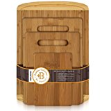 Bamboo Chopping Board Set of 4 - Eco-Friendly Bamboo Cutting Boards with Drip Groove for Food Prep, Meat, Vegetables, Fruits, Crackers & Cheese - 100% Organic, Premium Craftsmanship by Bambüsi