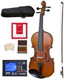 Cecilio CVA-500 Solidwood Ebony Fitted Viola with D'Addario Prelude Strings, Size 15-Inch