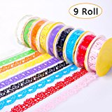 9 Pcs Roll Decorative Lace Sticky Adhesive Washi Tape for DIY Craft