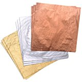 300 Pieces Gilding Foil Imitation Gold, Silver and Copper Leaf for DIY Art Crafts Decoration