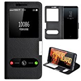 Samsung Galaxy Note 8 Case, Genuine Leather Ultra Thin Shockproof Samsung Galaxy Note 8 Cover Flip Case Window View Stand Feature Magnet Closure Phone Case for Samsung Galaxy Note 8 (Black)