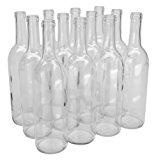 North Mountain Supply 750ml Glass Bordeaux Wine Bottle Flat-Bottomed Cork Finish - Case of 12 - Clear/Flint