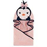 Hudson Baby Animal Face Hooded Towel, Girly Penguin