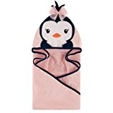 Hudson Baby Animal Face Hooded Towel, Girly Penguin