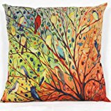 Sinfu 1PC Pillowcase Pillow Cover Pillowslip For Sofas Home Bedroom Decor Living Home Décor Rectangle Creative Vintage Tree Flower Floral Cotton Cover Case Gift