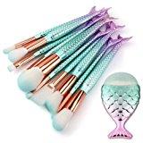 Cinidy 11pcs Mermaid Makeup Brushes Set 3D Green Gradient Synthetic Kabuki Foundation Blending Blush Eyeliner Face Powder Brush
