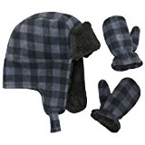 N'Ice Caps Little Boys and Baby Buffalo Plaid Fleece Trooper Hat Mitten Set