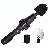 Brush Hero Wheel Brush, Premium Water-Powered Turbine for Rims, Engines, Bikes, Equipment, Furniture and More (Black- Soft Bristles)