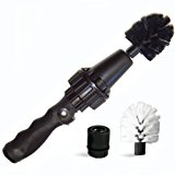 Brush Hero Wheel Brush, Premium Water-Powered Turbine for Rims, Engines, Bikes, Equipment, Furniture and More (Black- Soft Bristles)