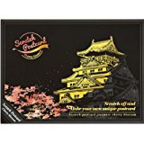 Lago Scratch Coloring Postcard Cherry Blossom / Set of 4 / 1 Scratch Stylus