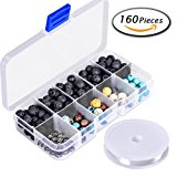 Paxcoo 160pcs 8mm Lava Stone Rock Beads with Assorted Gemstone for Jewelry Making
