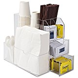 Deluxe Coffee Cups and Condiments Clear Acrylic Organizer Caddy with 2 Drawers and Napkin Holder