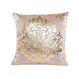 Usstore 1PC Decorative Pillowcases Zipper Gold Rose Printing Dyeing Throw Pillow Cover Cafe Home Decoration for Living Sofas Beds Room (Beige)