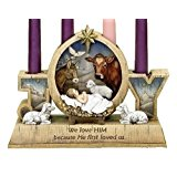 """9"""" Advent Candle Holder - Advent Wreath - Baby Jesus and Barn Animals"""