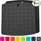 """Premium Silicone Trivet Mats / Hot Pads, Pot Holders, Spoon Rest, Jar Opener & Coasters - Our 5 in 1 Kitchen Tool is Heat Resistant to 442 °F, Thick & Flexible (7"""" x 7"""", Dark Gray, Set of 2)"""