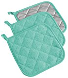 """DII Cotton Terry Pot Holders, 7x7"""" Set of 3, Heat Resistant and Machine Washable Hot Pads for Kitchen Cooking and Baking-Aqua"""