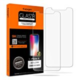 Spigen iPhone X Screen Protector Tempered Glass [ Case Friendly ] 2 Pack for Apple iPhone X / 10 (2017)