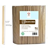 """Wood Coffee Beverage Stirrers, Coffee Stir Sticks 5.5"""" (1000 Count) Eco-Friendly Completely Biodegradable, Coffee Stirrers For Hot & Cold Beverages as Coffee & Tea, Alternative to Plastic Stirrers"""
