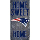 New England Patriots Official NFL 14.5 inch x 9.5 inch Wood Sign Home Sweet Home by Fan Creations 048470