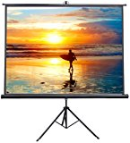 """VIVO 84"""" Portable Indoor Outdoor Projector Screen, 84 Inch Diagonal Projection HD 4:3 Projection Pull Up Foldable Stand Tripod (PS-T-084)"""